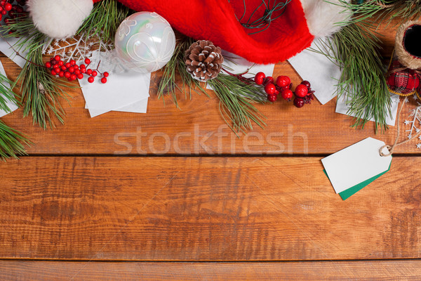 Stock photo: The wooden table with Christmas decorations