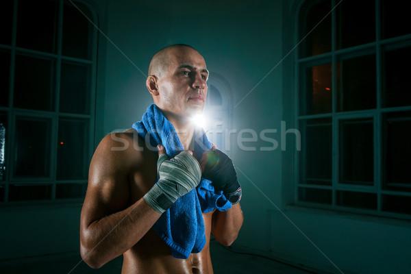 Fiatalember kickbox fekete fiatal férfi atléta Stock fotó © master1305