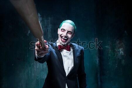 кровавый Хэллоуин Crazy девушки сырой мяса Сток-фото © master1305