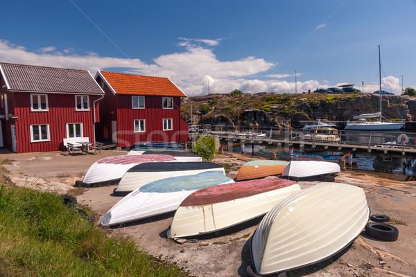 Foto stock: Pesca · barcos · típico · paisaje · Suecia