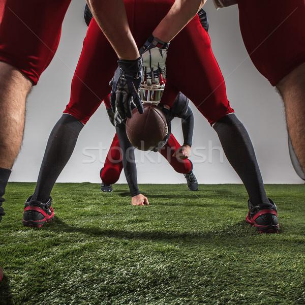 Сток-фото: три · американский · футбола · действий · зеленая · трава
