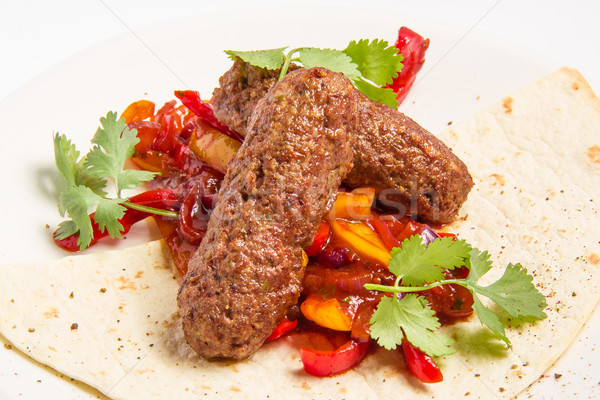 Kebab groenten saus gebak kip diner Stockfoto © master1305