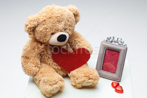 テディベア カップル 赤 中心 バレンタインデー フレーム ストックフォト © master1305