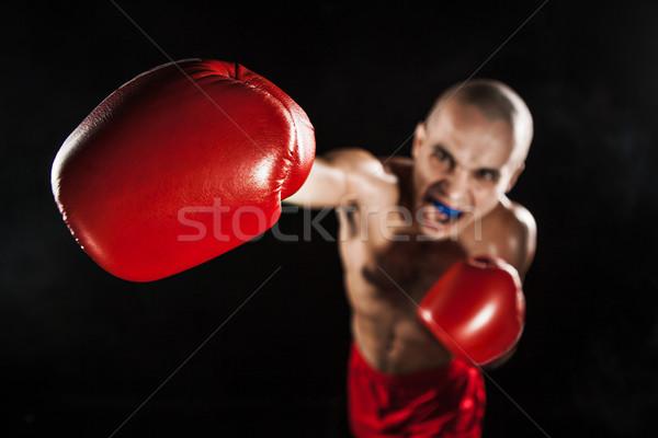 Genç kickboks siyah ağız genç erkek Stok fotoğraf © master1305