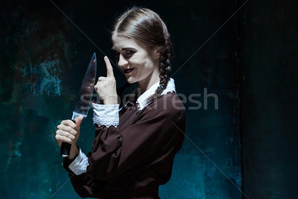 Retrato joven asesino cuchillo Foto stock © master1305