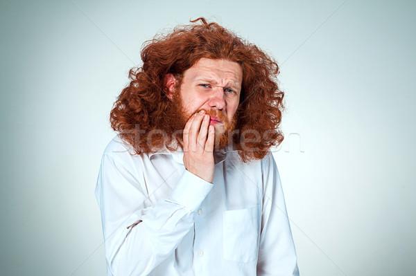 Jonge man kiespijn grijs man mannen tanden Stockfoto © master1305