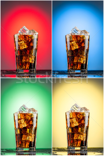 Glass with cola and ice.  Collection of four backgrounds Stock photo © master1305