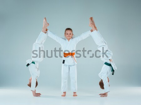 Man in white kimono training karate Stock photo © master1305