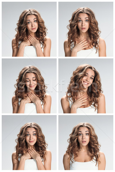 The set of female portraites with shocked facial expression Stock photo © master1305