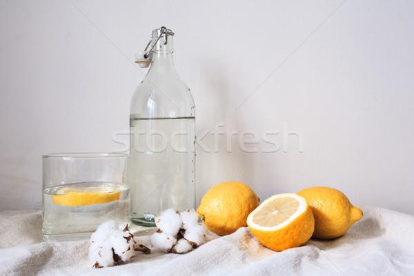 ízletes hideg ital citrom fehér pamut Stock fotó © master1305