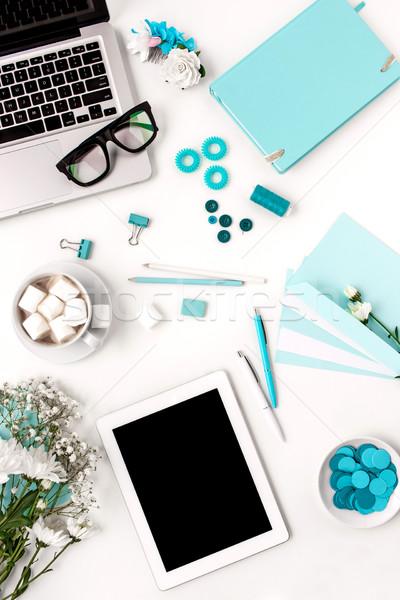 Ancora vita moda donna blu oggetti bianco Foto d'archivio © master1305