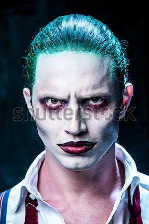 Straszny crazy clown halloween czerwony shirt Zdjęcia stock © master1305