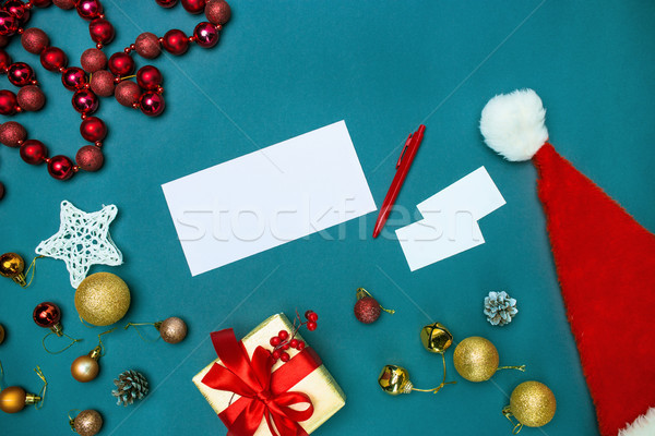 Greeting card mock up template with Christmas decorations. Stock photo © master1305