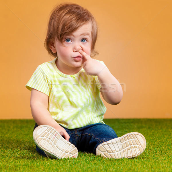 Ein cute orange funny Gras Stock foto © master1305