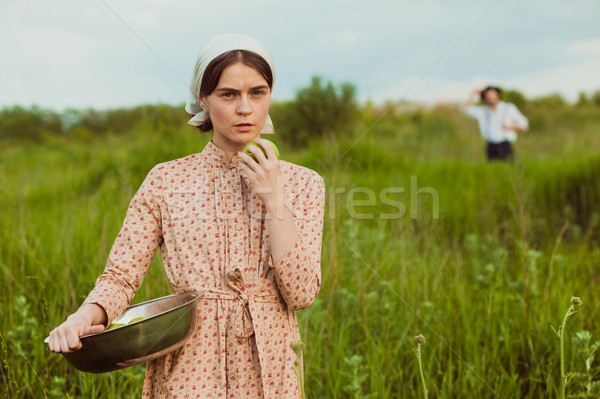 The healthy rural life. The woman in the green field Stock photo © master1305