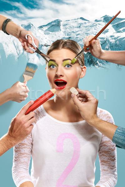 Hände Make-up Schere Pinsel Radiergummi Stock foto © master1305