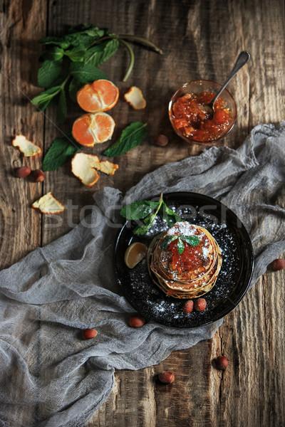 自然 マンダリン ジャム 木製のテーブル パンケーキ 食品 ストックフォト © master1305