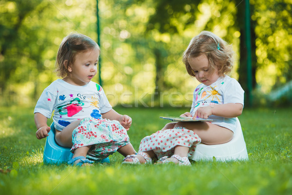 The two little baby girls sitting on pottys against green grass Stock photo © master1305