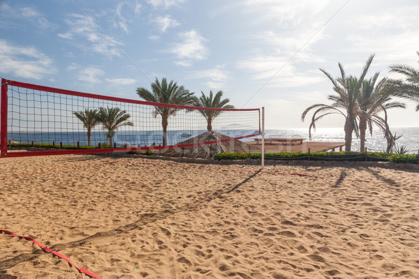 Praia luxo hotel Egito ver voleibol Foto stock © master1305
