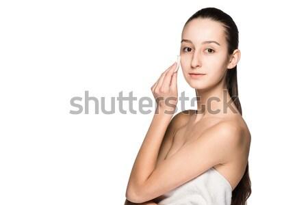 スキンケア 女性 顔 綿 クローズアップ 美しい ストックフォト © master1305