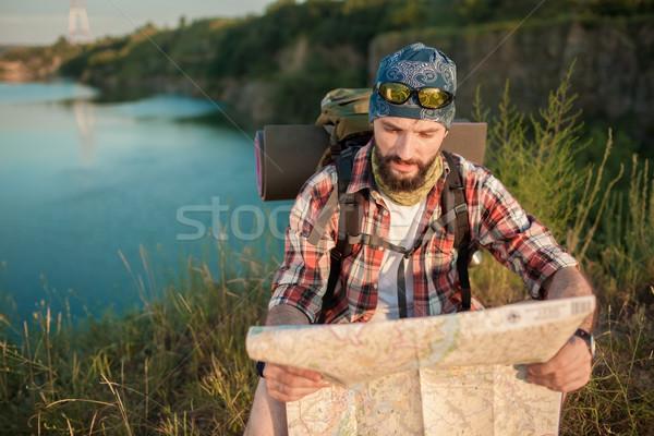 Сток-фото: молодые · кавказский · человека · рюкзак · сидят · Top