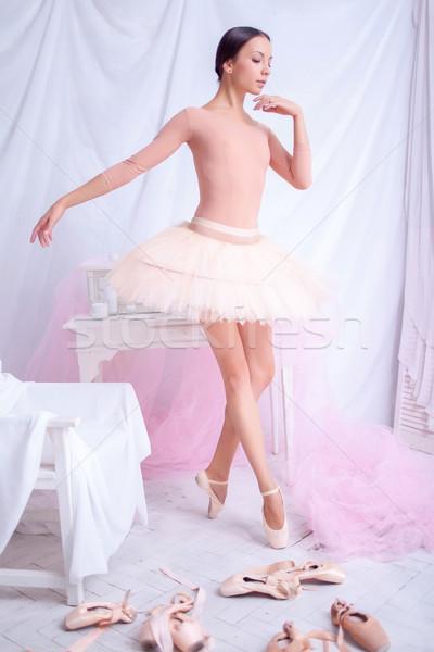Stockfoto: Professionele · balletdanser · poseren · roze · ballerina · achtergrond
