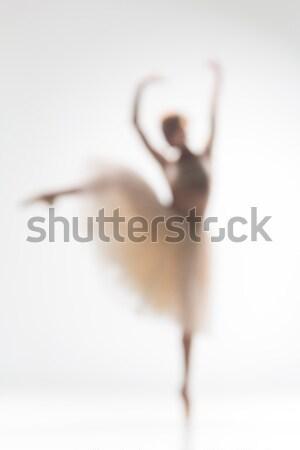 Elmosódott sziluett ballerina fehér tánc tánc Stock fotó © master1305