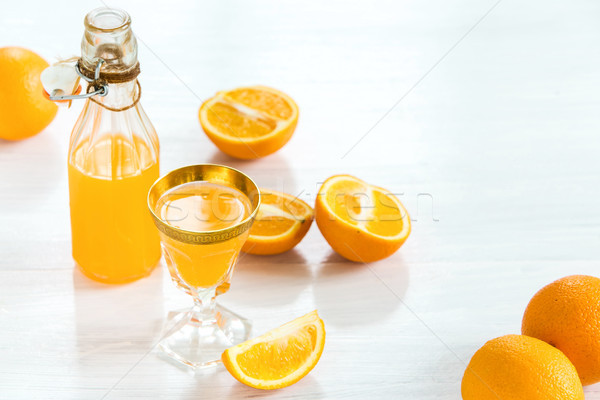Glass of orange liqueur. Selective focus Stock photo © master1305