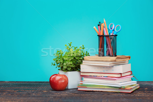 Back to School concept. Books, colored pencils and apple Stock photo © master1305