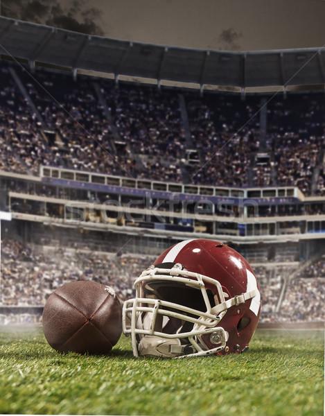 Piłka amerykański piłka nożna gracze kask stadion Zdjęcia stock © master1305