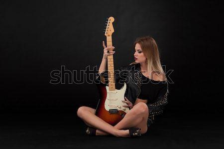 Foto stock: Hermosa · niña · guitarra · hermosa · nina · rock