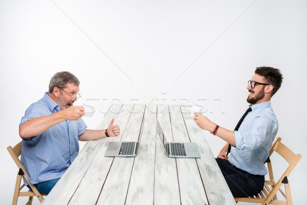 Stock photo: The two colleagues working on project together