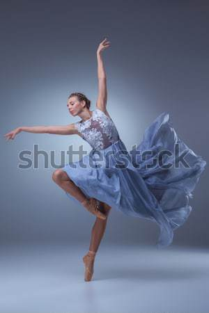 Belo bailarina dança azul longo vestir Foto stock © master1305