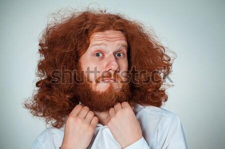 Stock fotó: Portré · fiatalember · megrémült · arckifejezés · hosszú · vörös · haj