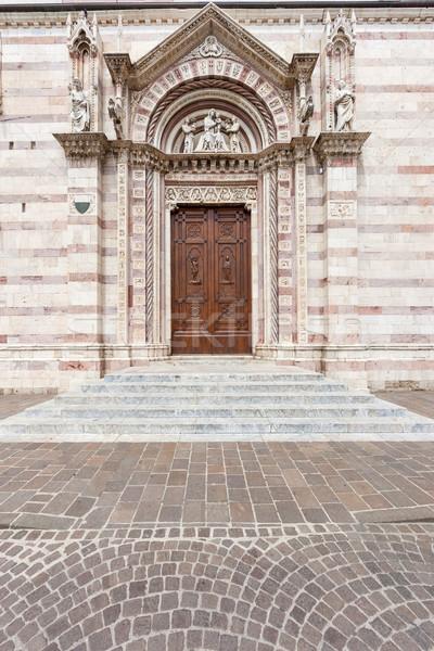 Vieux bois porte antique portes église Italie Photo stock © master1305