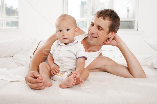 Giovani padre nove mesi vecchio figlio Foto d'archivio © master1305