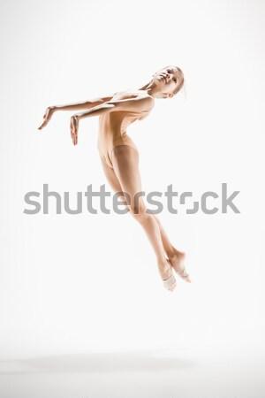 Stok fotoğraf: Genç · güzel · dansçı · bej · mayo · dans