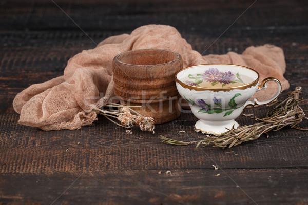 Сток-фото: чай · лимона · сушат · цветы · таблице · деревянный · стол