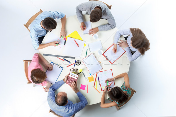 Stockfoto: Top · business · team · werkruimte · vergadering · tabel