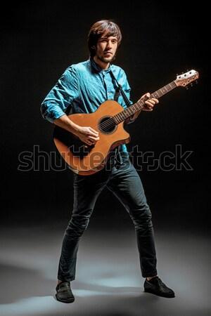 Teljes alakos portré gitáros izgalmas zene szürke Stock fotó © master1305