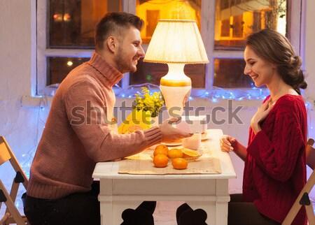 Stock fotó: Portré · romantikus · pár · valentin · nap · vacsora · ajándék