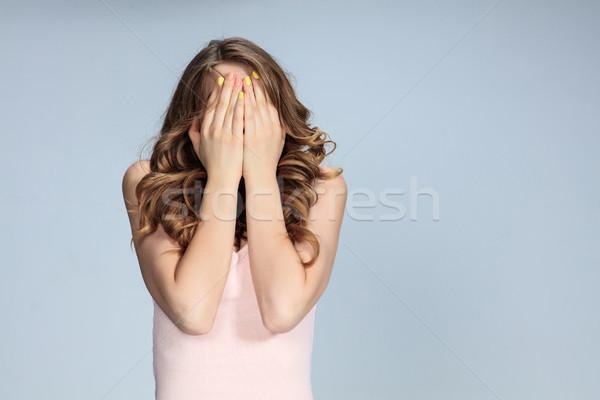 Porträt schockiert Gesichtsausdruck Mädchen Gesicht Stock foto © master1305