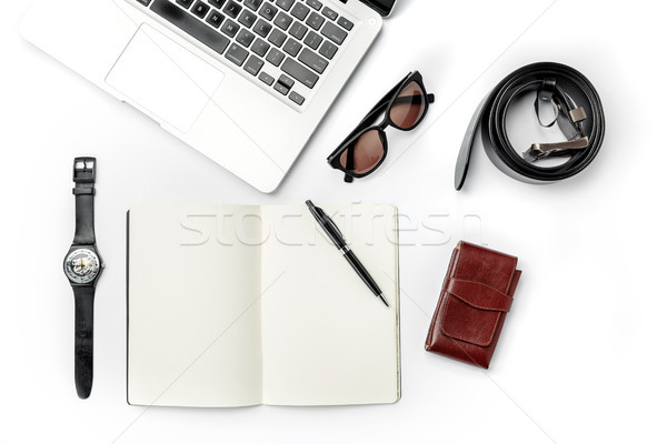Still life of casual man. Modern male accessories and laptop on white Stock photo © master1305