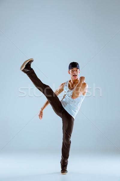 человека танцы хип-хоп фитнес серый студию Сток-фото © master1305