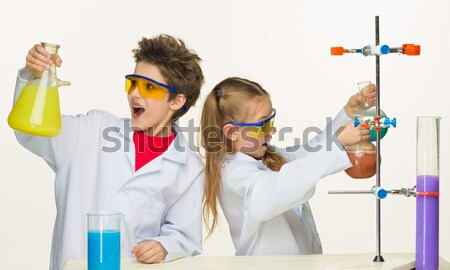 Two cute children at chemistry lesson making experiments Stock photo © master1305