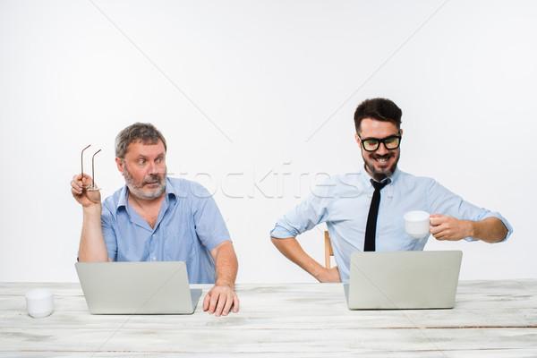 два коллеги служба белый оба Сток-фото © master1305