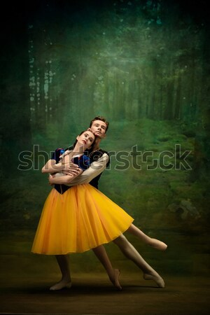 愛する カップル 雨 傘 ターコイズ 女性 ストックフォト © master1305