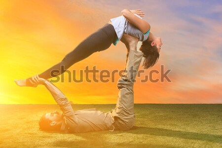 The group of people doing yoga exercises  Stock photo © master1305
