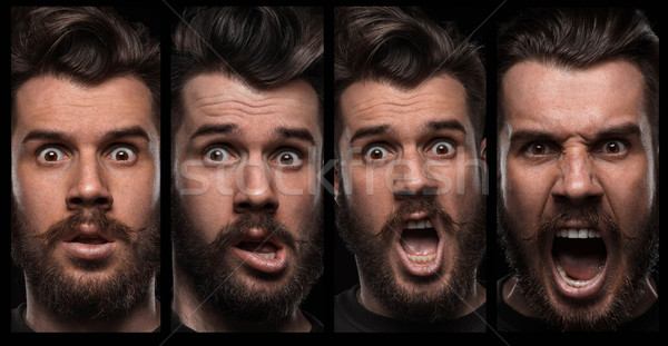 Set of young man's portraits with different emotions Stock photo © master1305