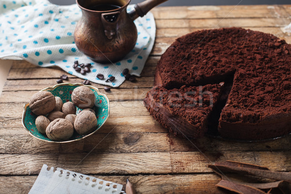 Chocolate cake, coffee and cinnamon sticks Stock photo © master1305